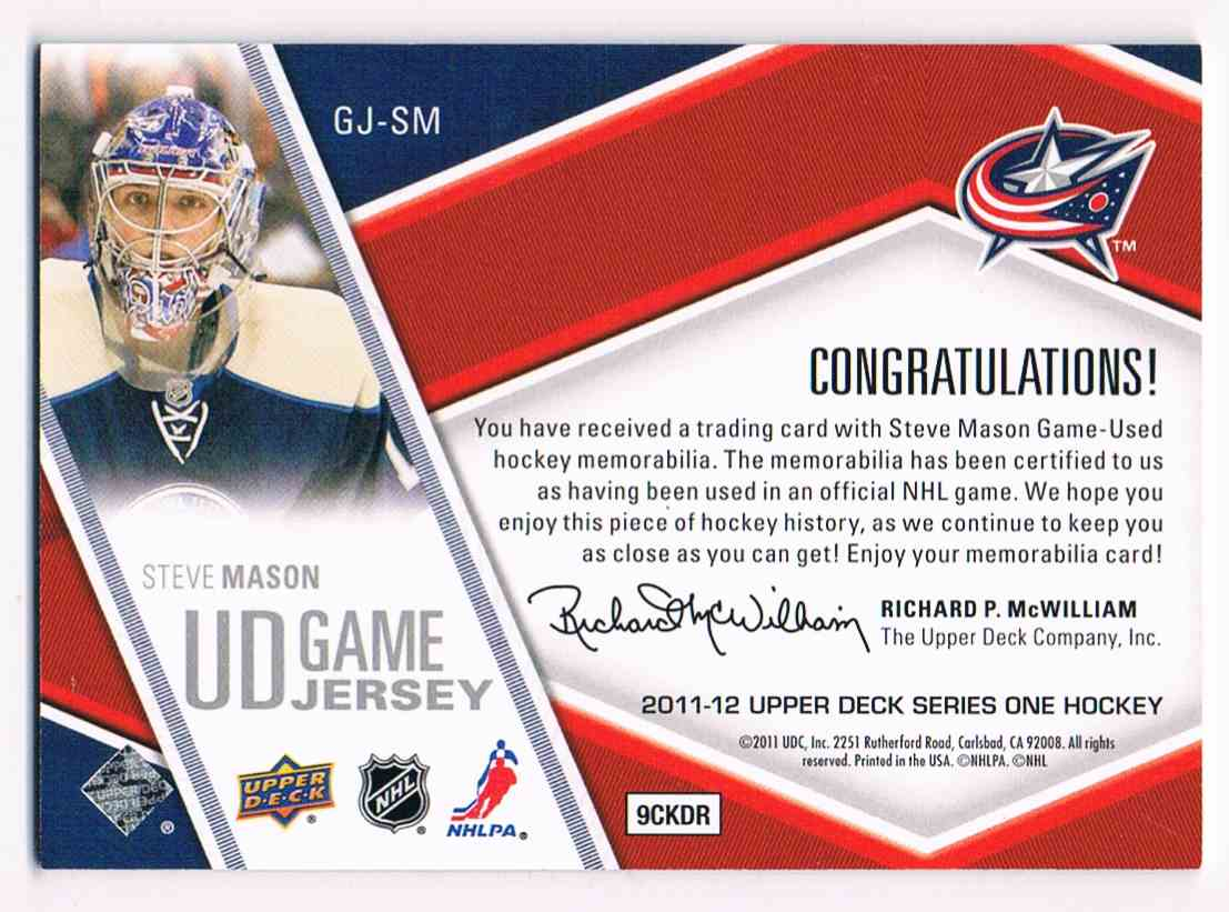 2011-12 Upper Deck UD Game Jersey Steve Mason #GJ-SM card back image