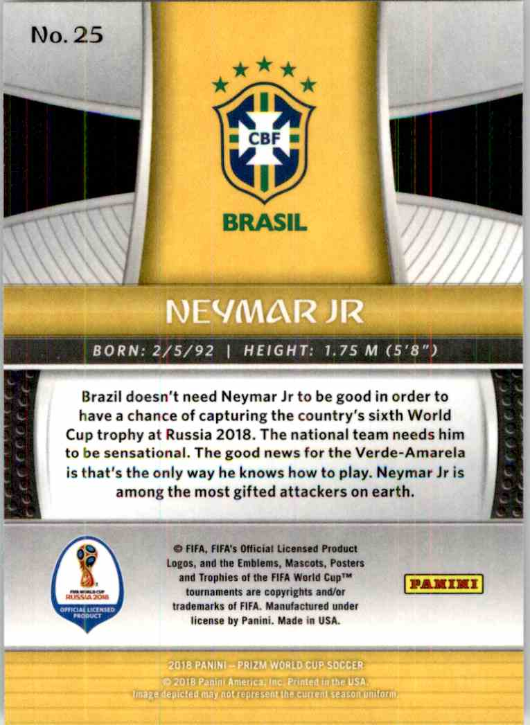 2018 Panini Prizm World Cup Neymar JR #25 card back image