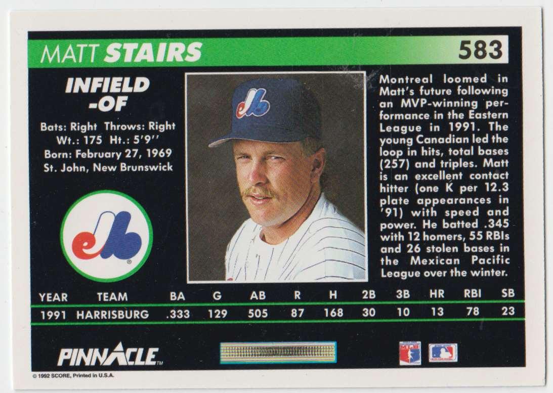 1992 Pinnacle Matt Stairs #583 card back image