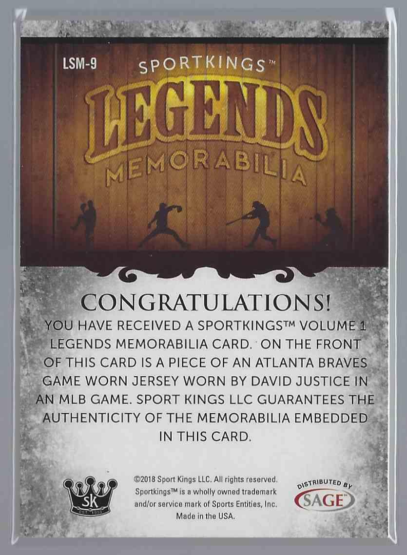 2018 Sportkings Legends Memorabilia David Justice #LSM-9 card back image