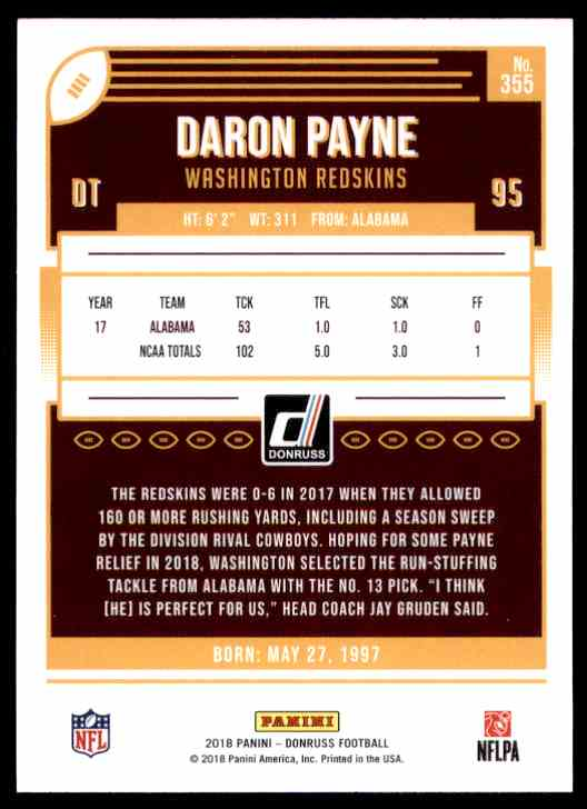 2018 Donruss Daron Payne #355 card back image