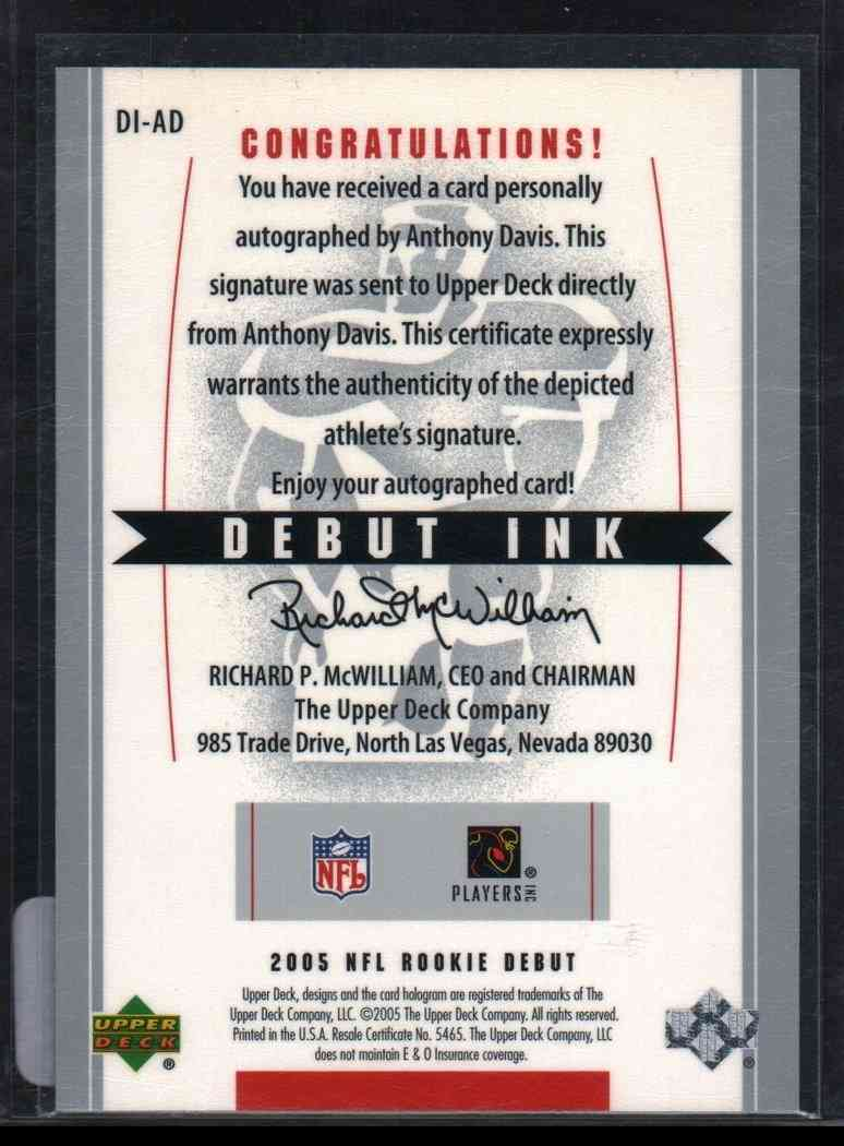 2005 Upper Deck Rookie Debut Anthony Davis #DI-AD card back image
