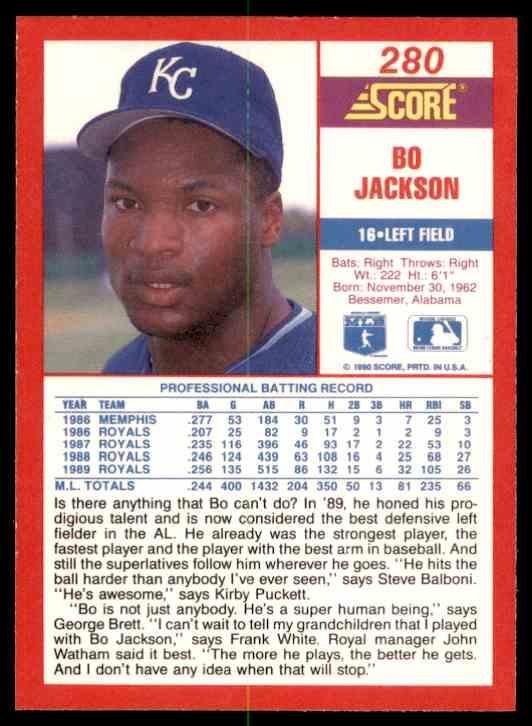1990 Score Bo Jackson #280 card back image
