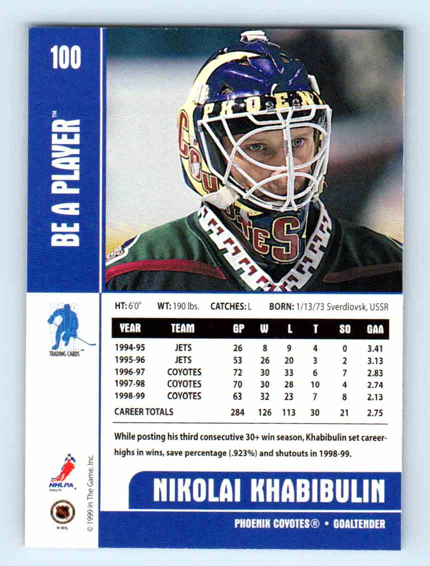 1999-00 Be A Player Nikolai Khabibulin #100 card back image