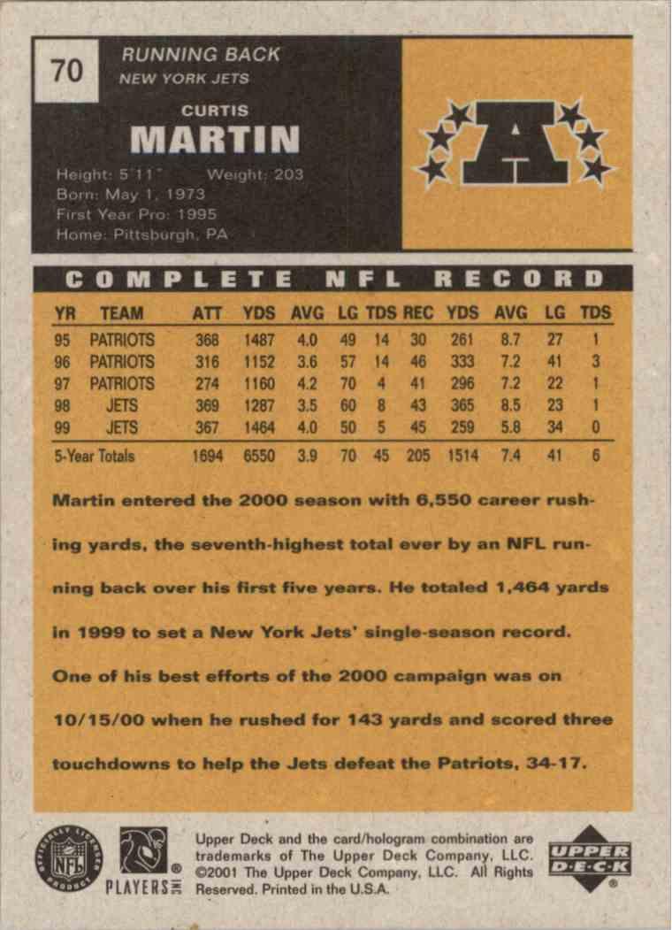 2001 Upper Deck Vintage Curtis Martin #70 card back image