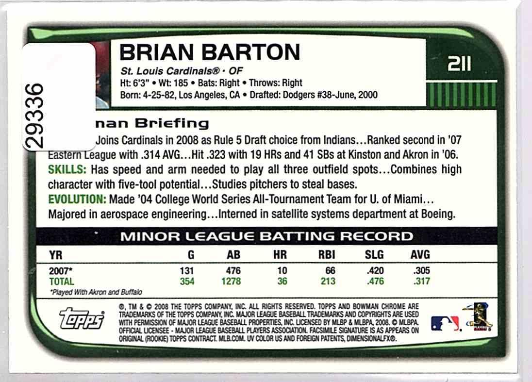 2008 Bowman Chrome Brian Barton RC #211 card back image