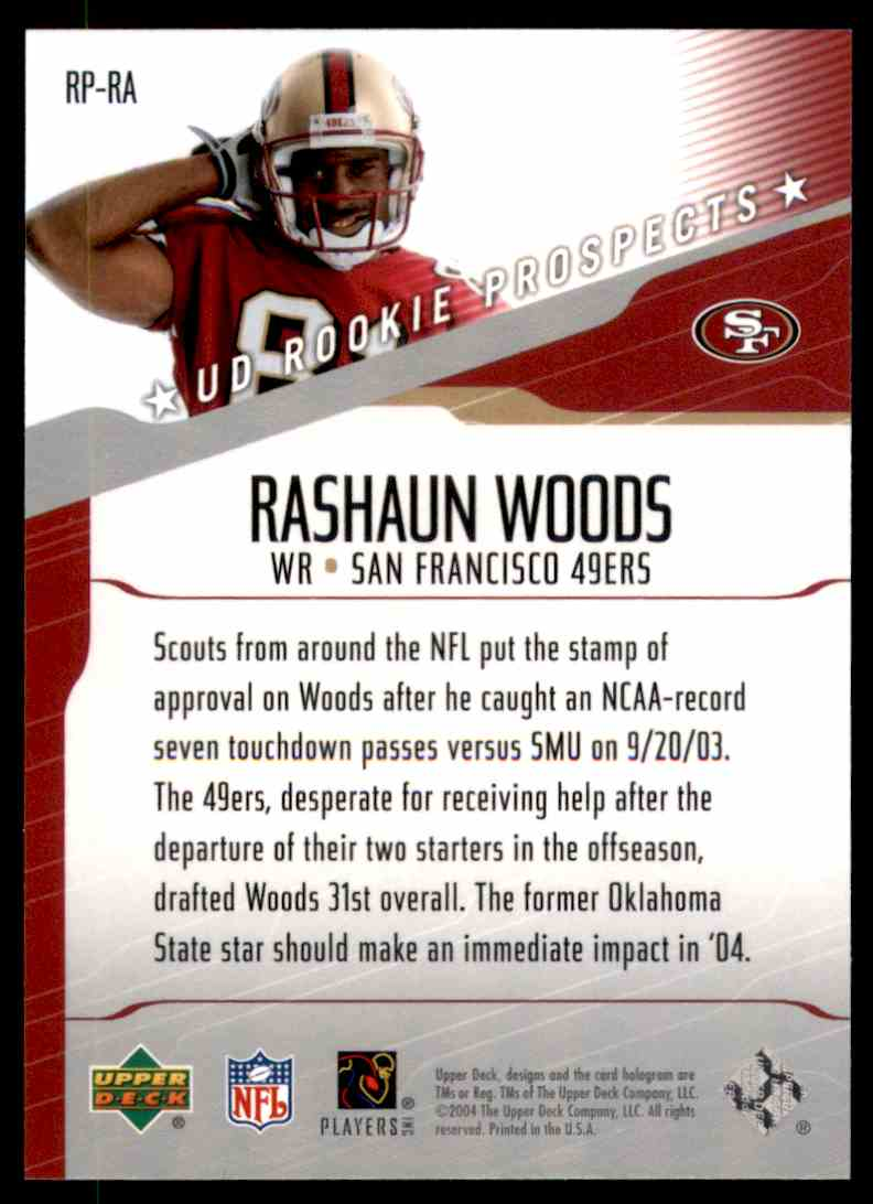2004 Upper Deck Rookie Prospects Rashaun Woods #RPRA card back image