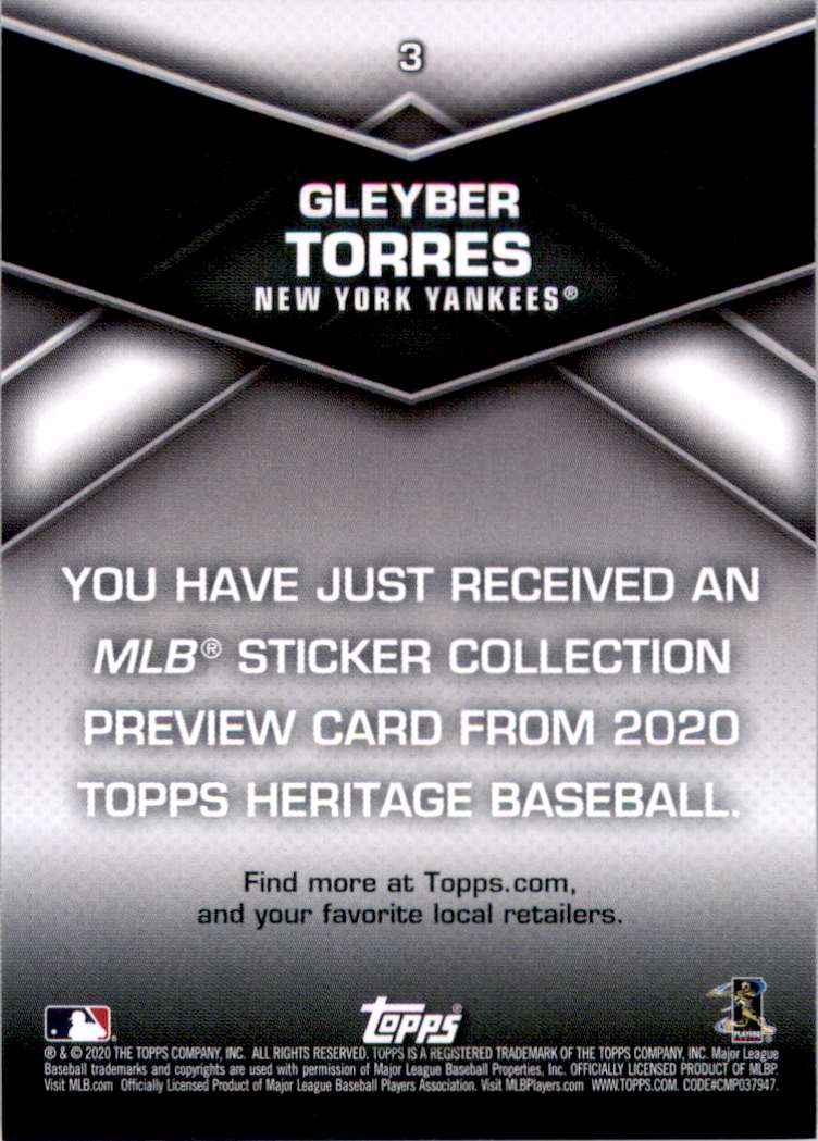 2020 Topps Heritage '20 Sticker Collection Preview Gleyber Torres #3 card back image