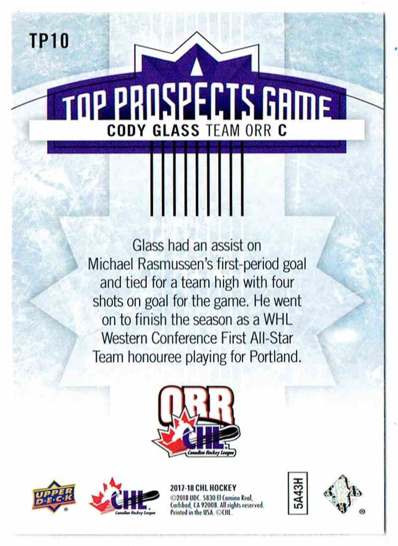 2017-18 Upper Deck UD CHL Top Prospects Game Cody Glass #TP10 card back image