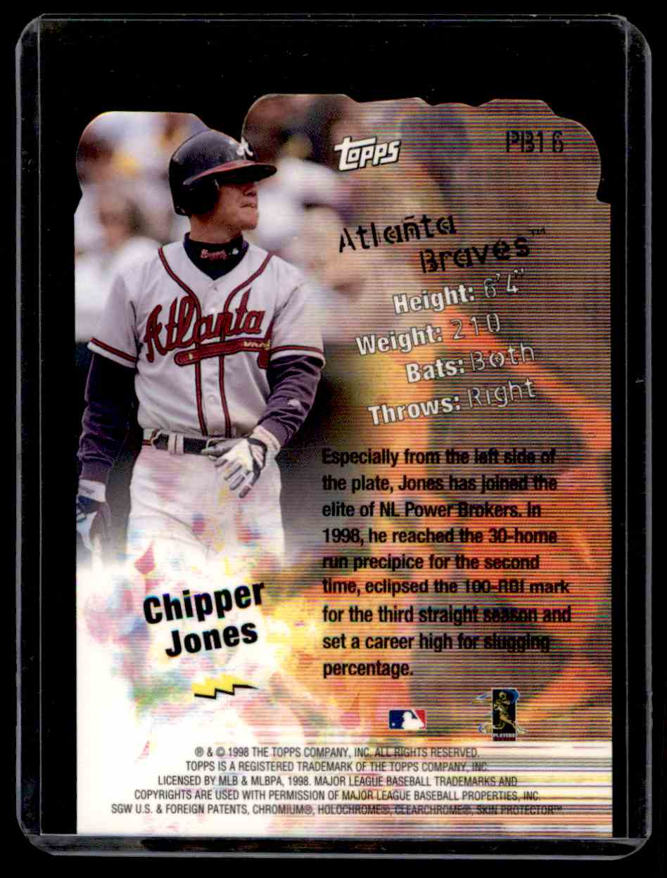 1999 Topps Power Brokers Chipper Jones #PB16 card back image