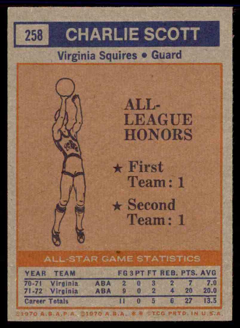 1972-73 Topps Charlie Scott #258 card back image