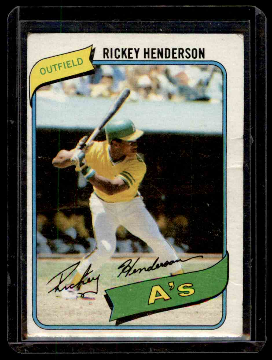 1980 Topps Rickey Henderson Rc/Uer 7 Steals At/Modesto Should Be Fresno #482 card front image