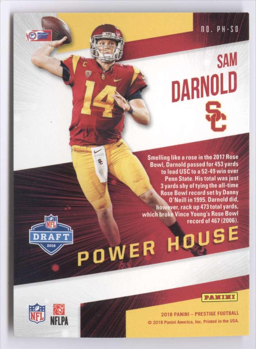 2018 Panini Prestige Power House Sam Darnold #PH-SD card back image