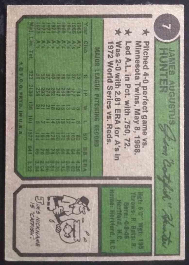 1974 Topps Catfish Hunter #7 card back image