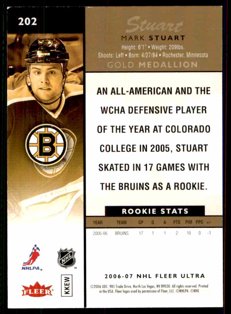 2006-07 Ultra Gold Medallion Rookie Mark Stuart #202 card back image