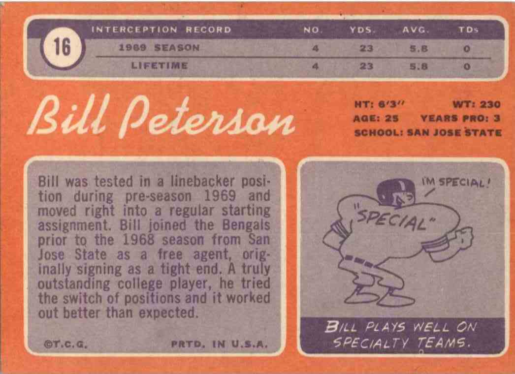 1970 Topps Bill Peterson #16 card back image