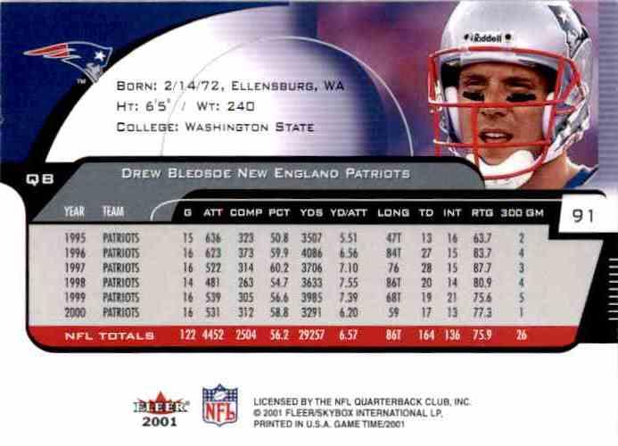 2001 Fleer Game Time Extra Drew Bledsoe #91 card back image