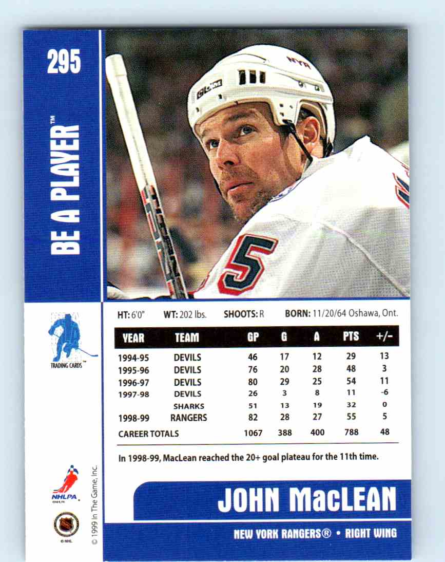 1999-00 Be A Player John MacLean #295 card back image