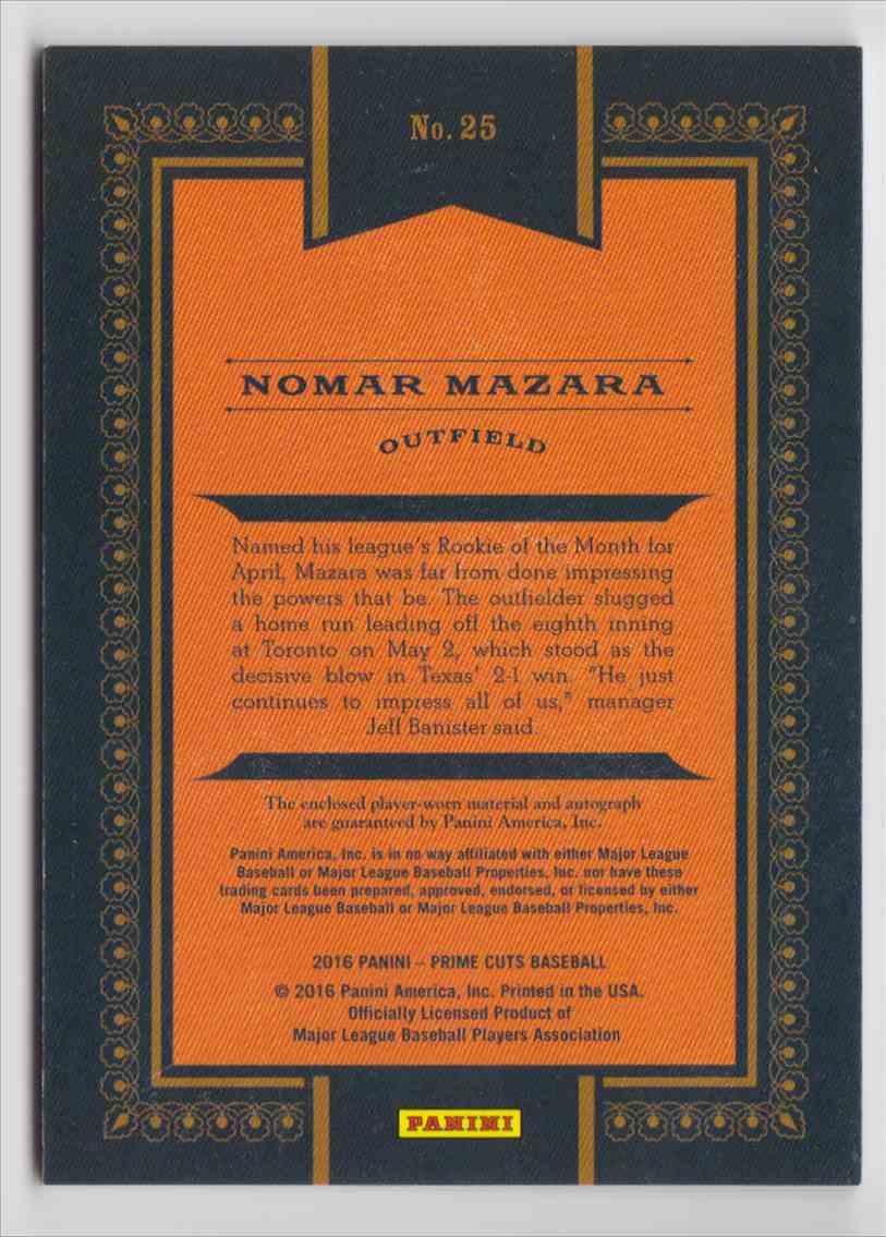 2016 Panini Prime Cuts Nomar Mazara #25 card back image
