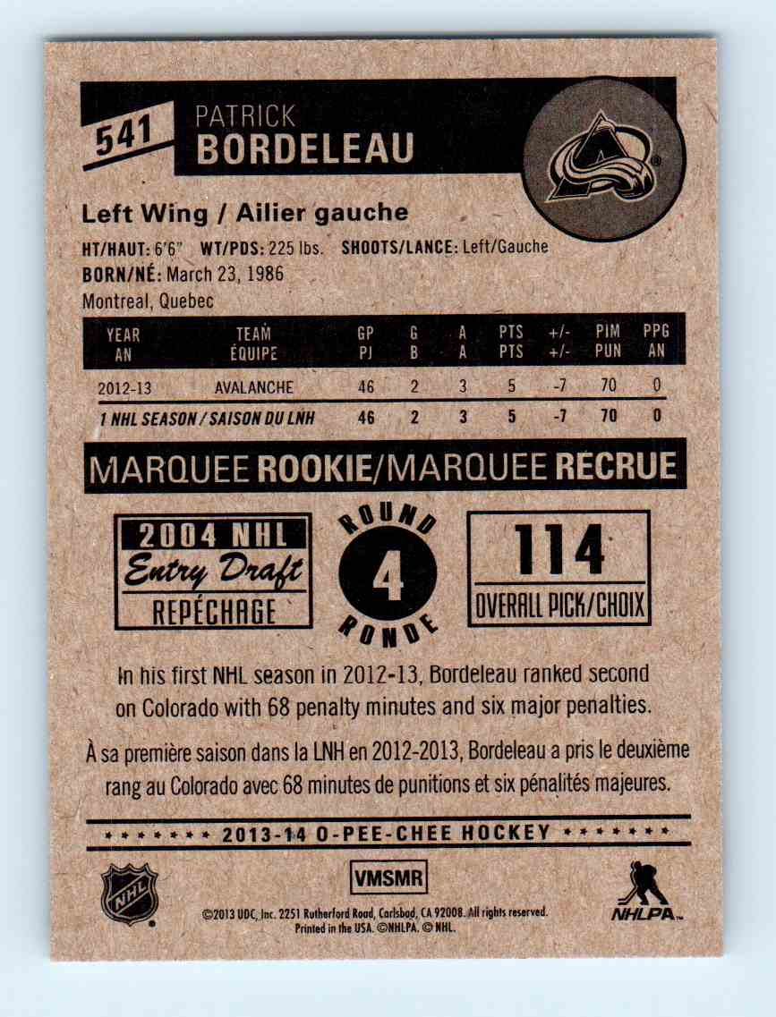 2013-14 O-Pee-Chee Marquee Rookies Patrick Bordeleau #541 card back image