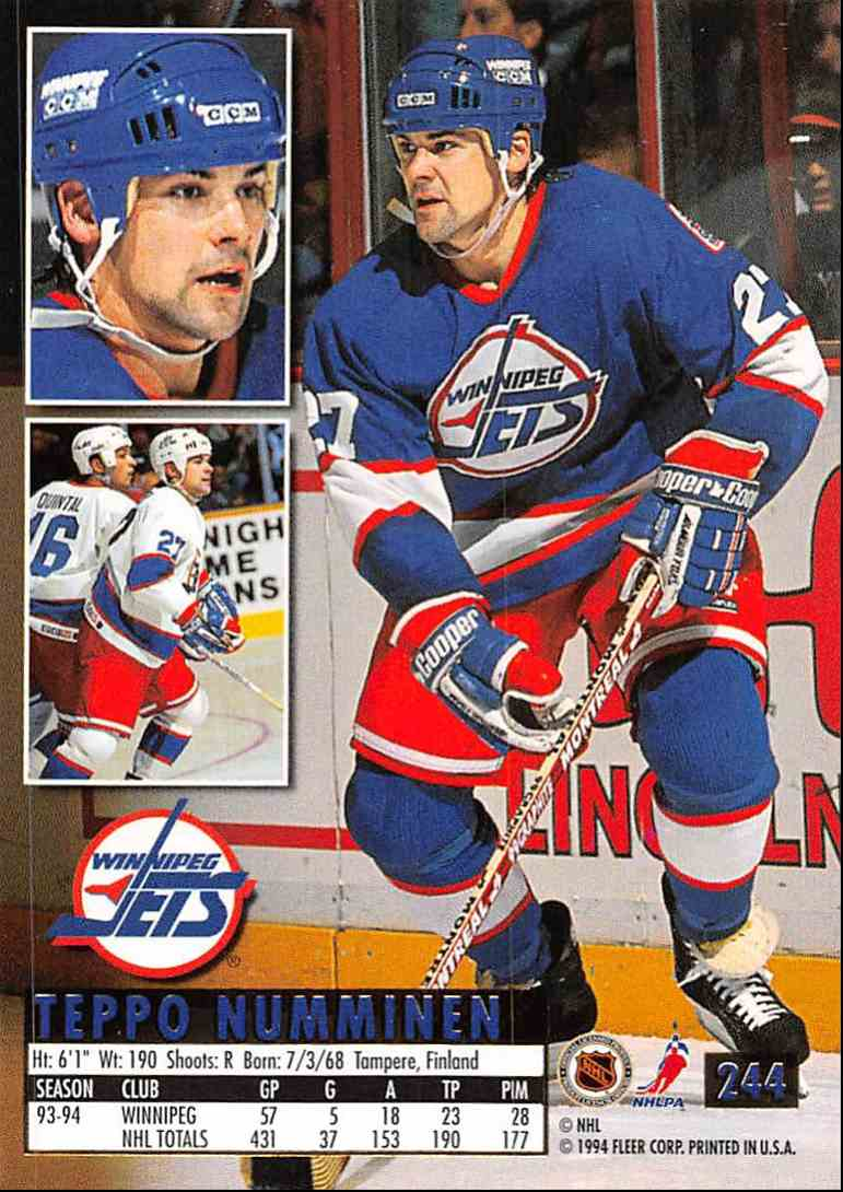 1994-95 Ultra Teppo Numminen #244 card back image