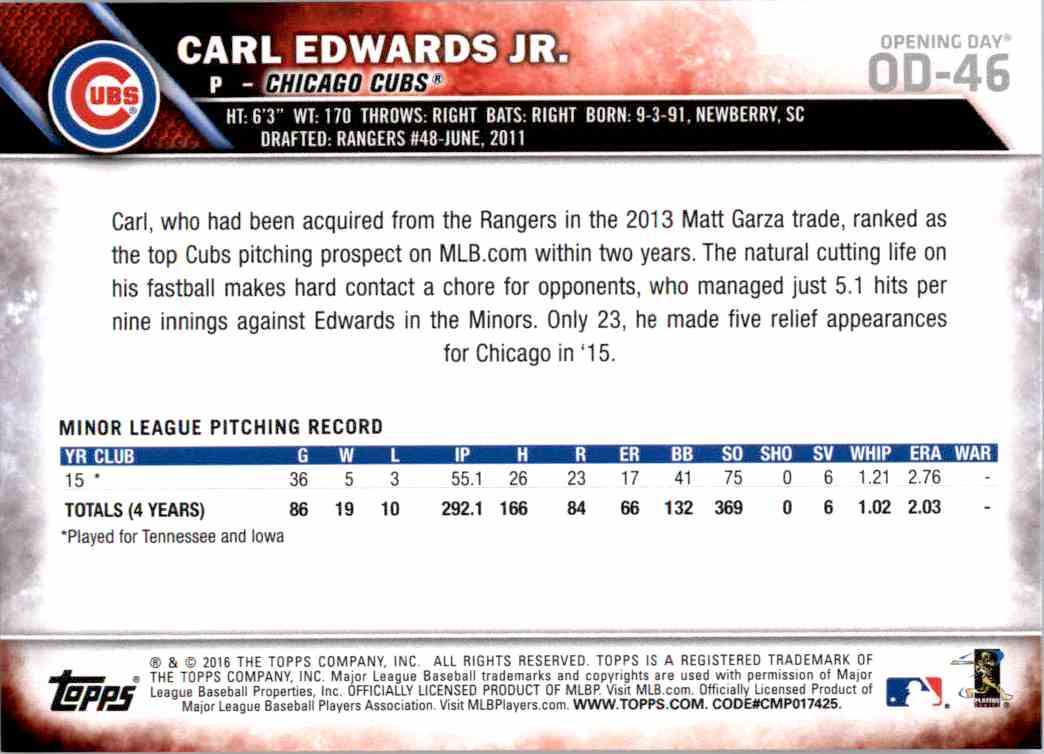 2016 Topps Opening Day Carl Edwards JR. RC #OD-46 card back image
