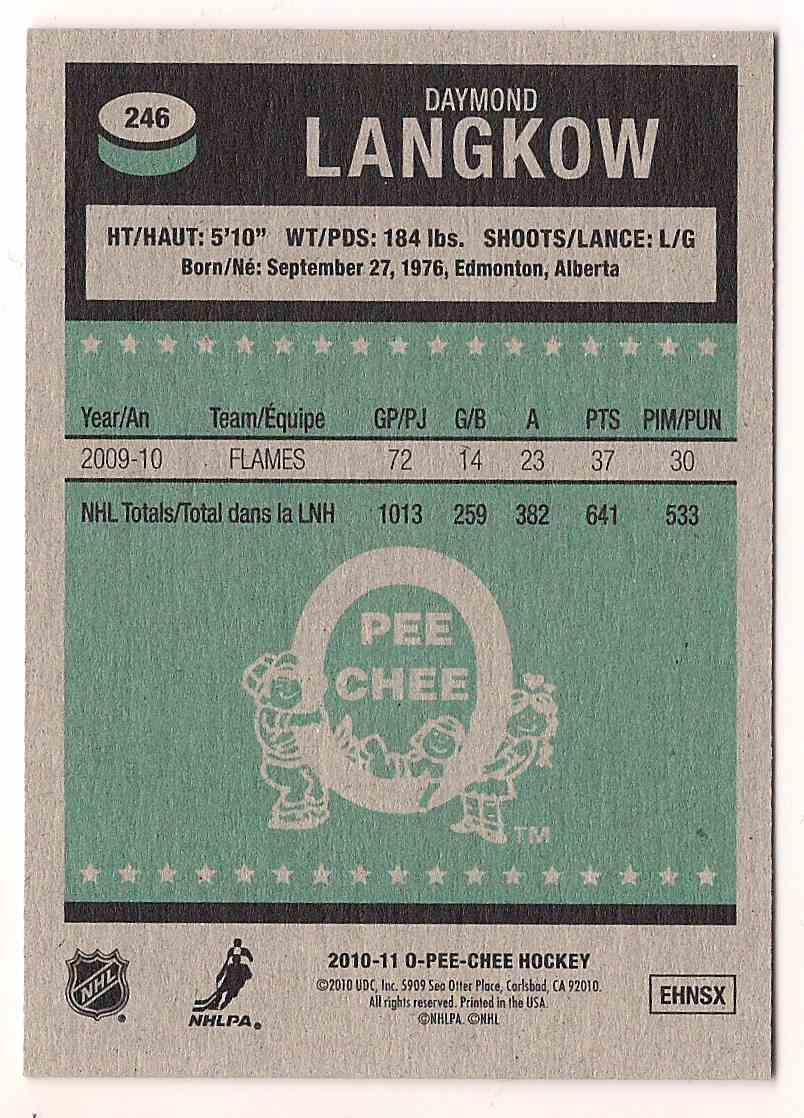 2010-11 O-Pee-Chee Retro Daymond Langkow #246 card back image