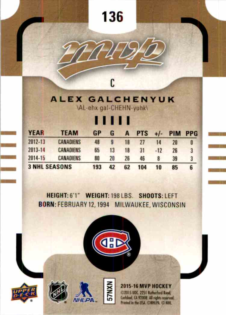 2015-16 Upper Deck MVP Alex Galchenyuk #136 card back image
