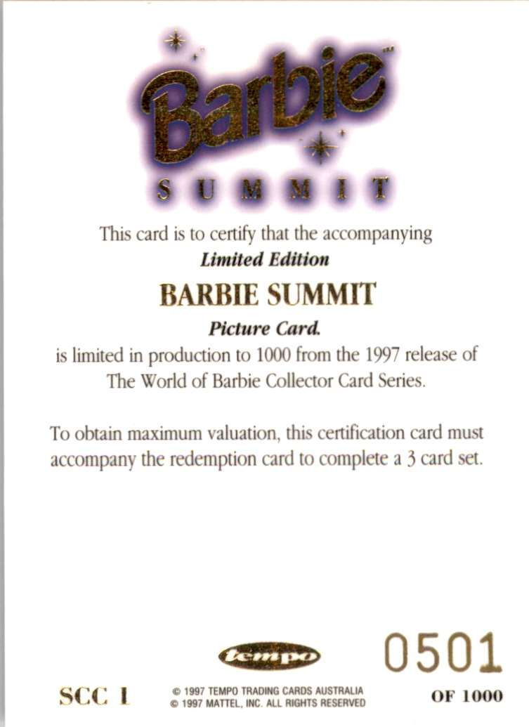 1997 World Of Barbie Summit Redemption Series Summit Certification #SCC1 card back image