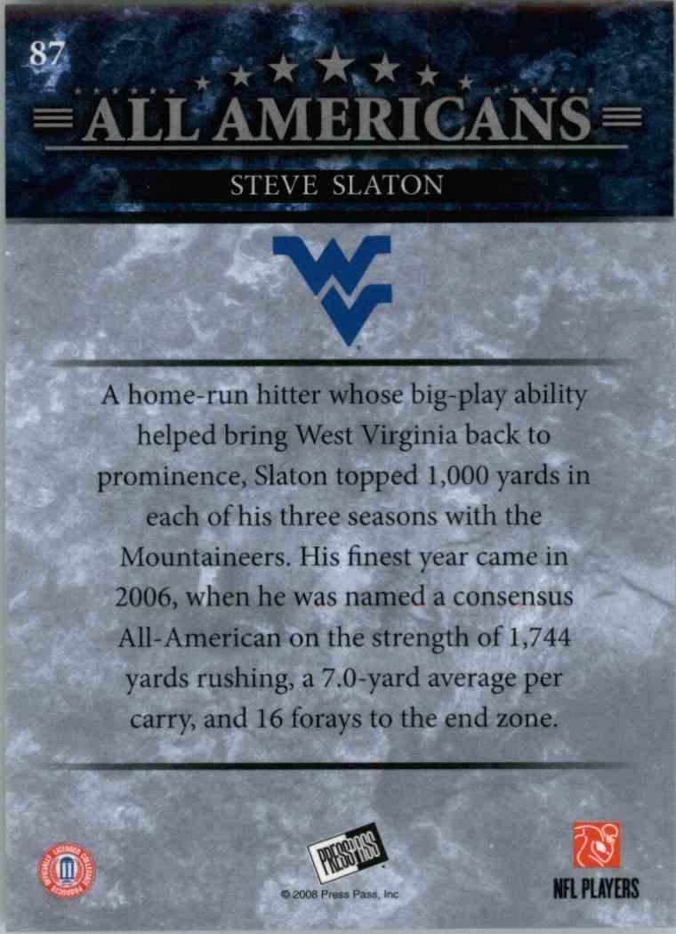 2008 Press Pass Steve Slaton #87 card back image