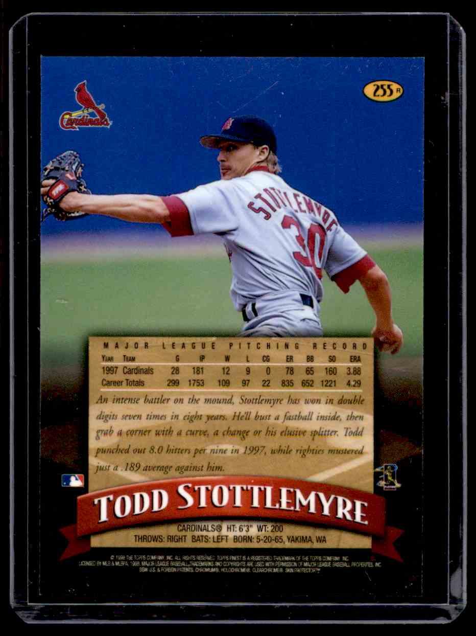 1998 Finest Refractor Todd Stottlemyre #255 card back image
