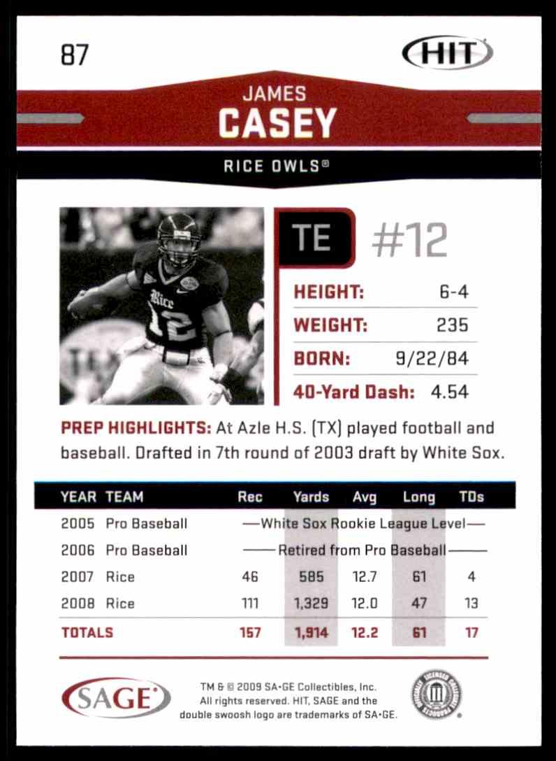 2009 Sage Hit James Casey #87 card back image