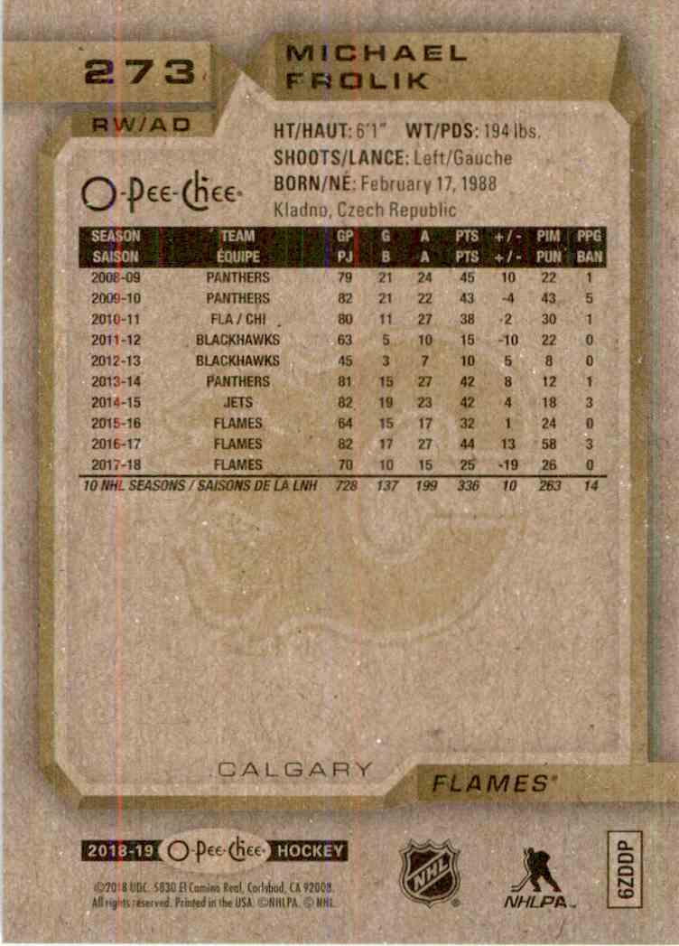 2018-19 O-Pee-Chee Michael Frolik #273 card back image