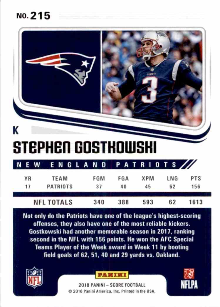 2018 Panini Score Stephen Gostkowski #215 card back image
