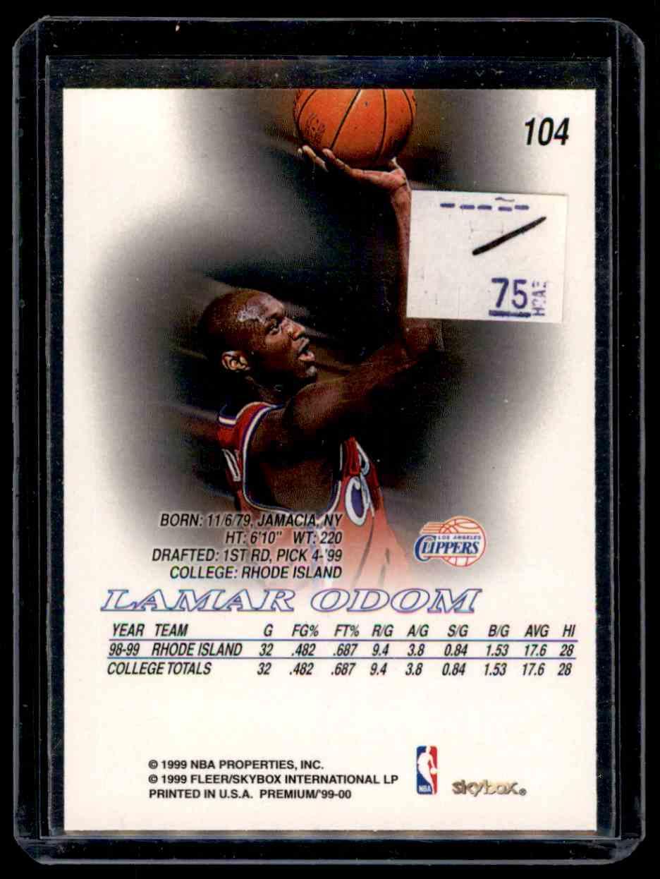 1999-00 Skybox Premium Lamar Odom #104 card back image