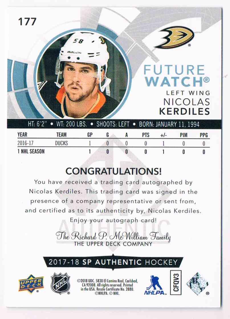 2017-18 SP Authentic Future Watch Nicolas Kerdiles #177 card back image