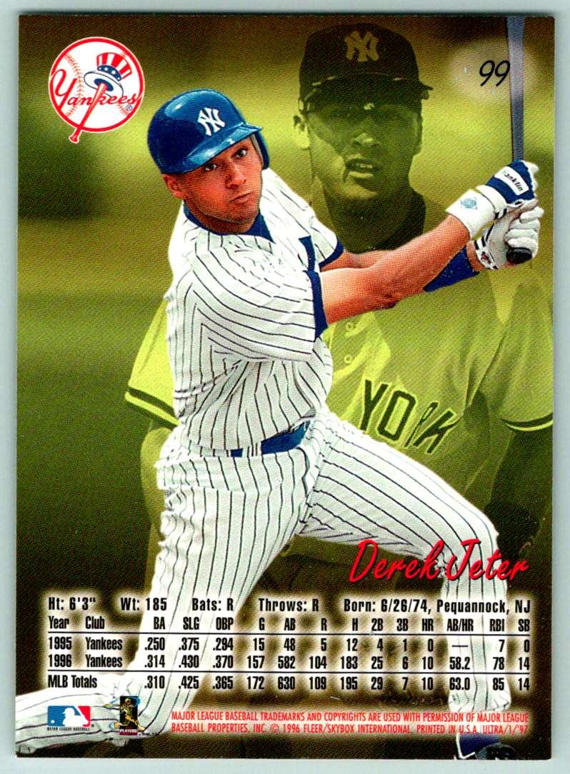 1997 Fleer Ultra Derek Jeter #99 card back image