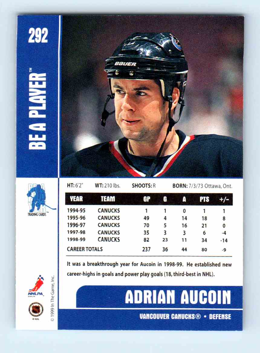 1999-00 Be A Player Adrian Aucoin #292 card back image