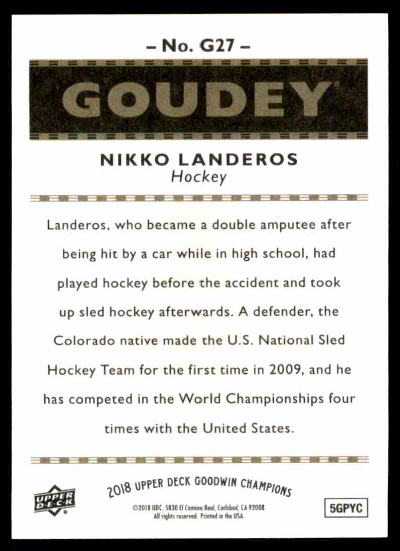 2018-19 UD Goodwin Champions Goudey SP Nikko Landeros #G27 card back image