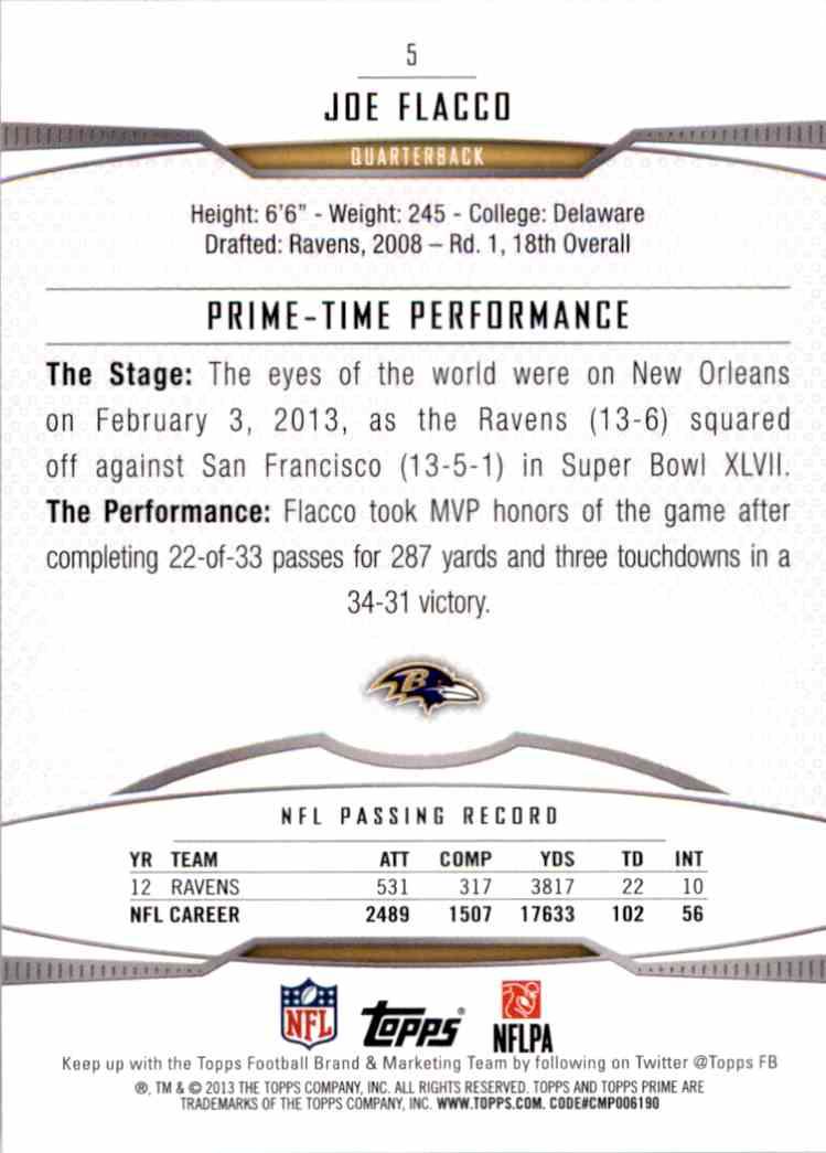 2013 Topps Prime Joe Flacco #5 card back image