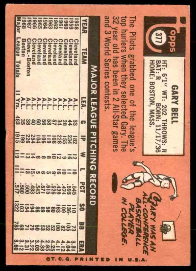 1969 Topps Gary Bell #377 card back image