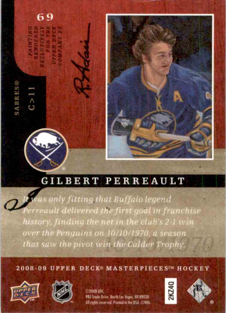 2008-09 Upper Deck Masterpieces Gilbert Perreault #69 card back image