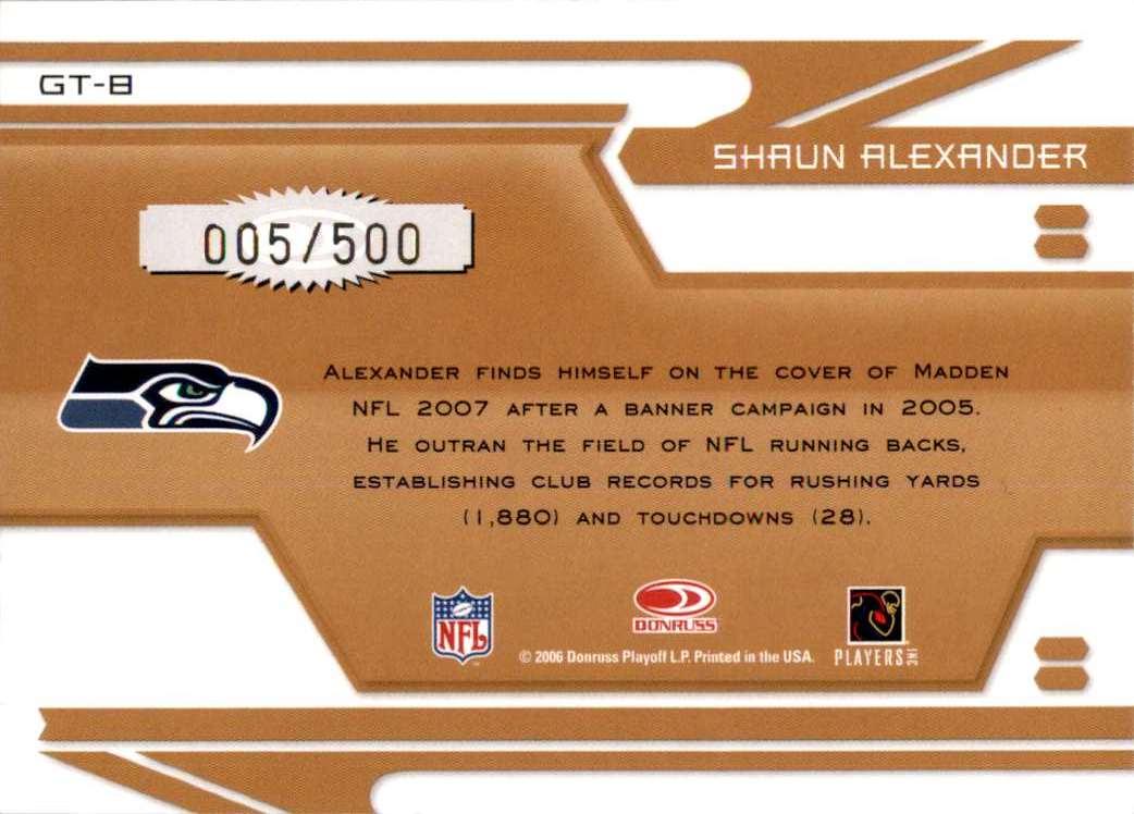 2006 Leaf Certified Materials Gold Team Shaun Alexander #GT8 card back image