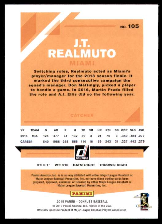 2019 Donruss Variations J.T. Realmuto #105 card back image