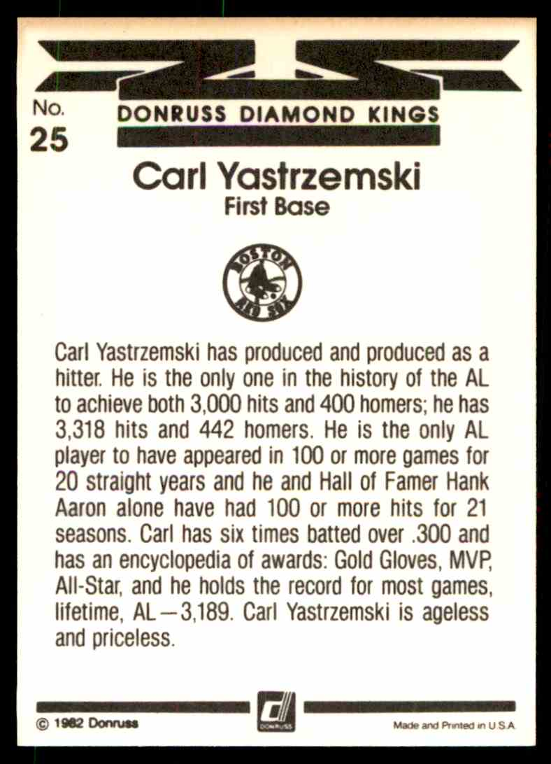 1983 Donruss Carl Yastrzemski #25 card back image
