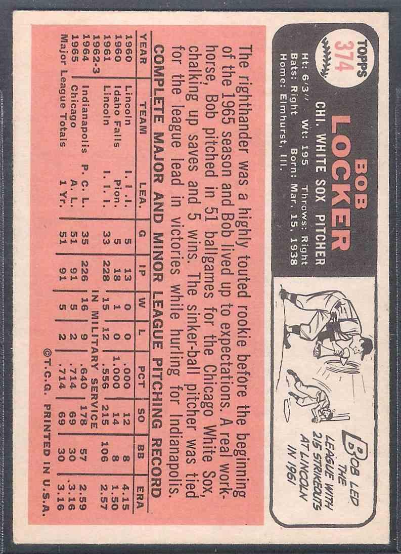 1966 Topps Bob Locker #374 card back image