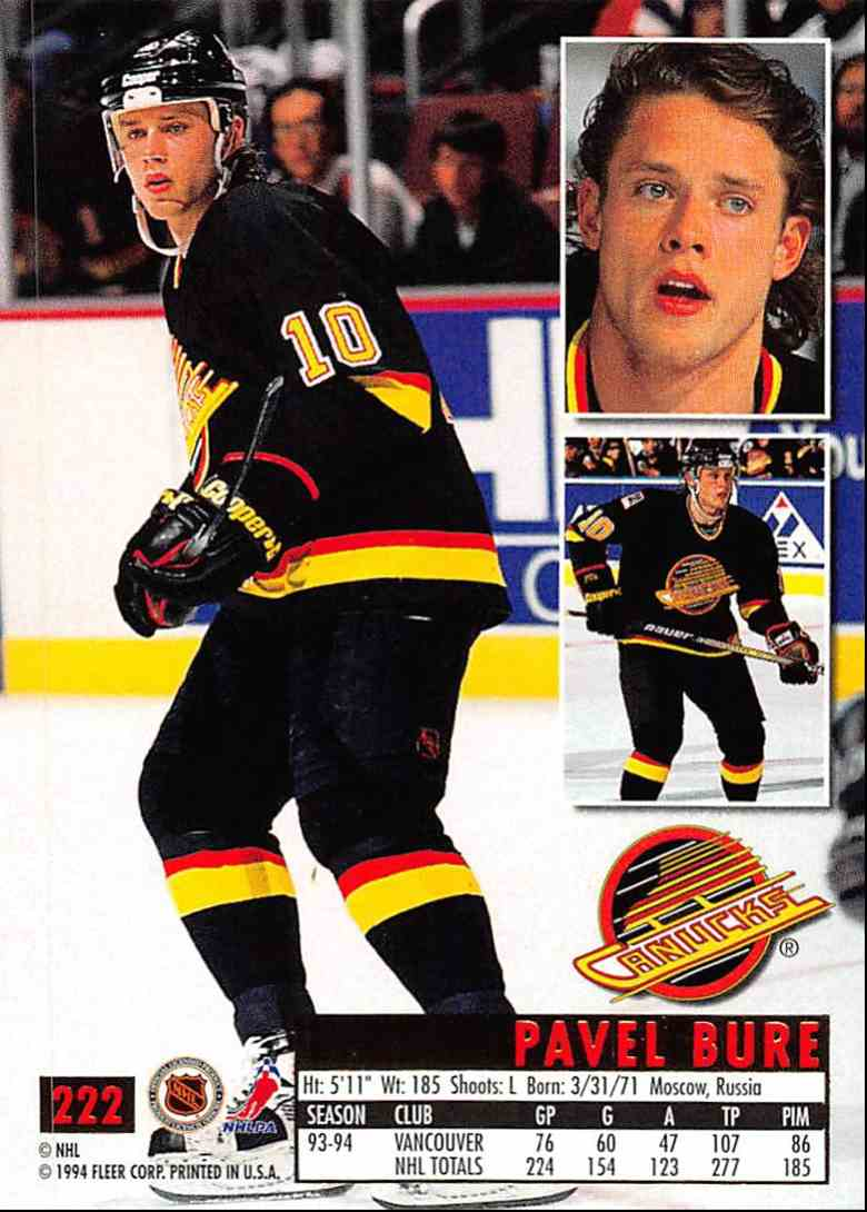1994-95 Ultra Pavel Bure #222 card back image
