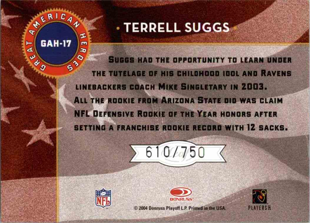 2004 Leaf Terrell Suggs #GAH-17 card back image