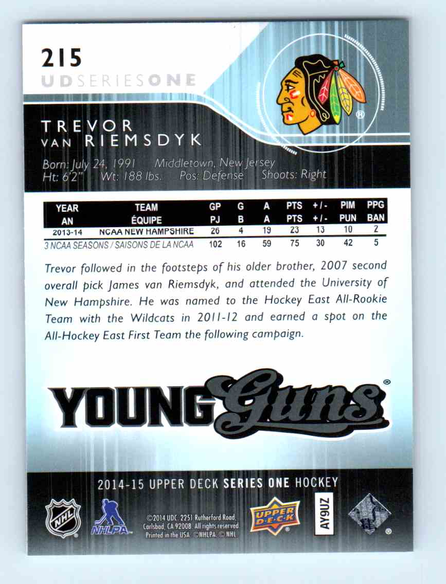 2014-15 Upper Deck Young Guns Trevor Van Riemsdyk #215 card back image