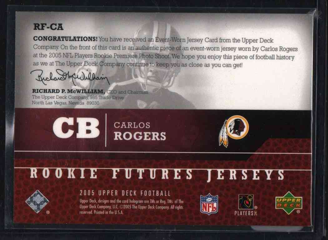 2005 Upper Deck Rookie Futures Jerseys Carlos Rogers #RF-CA card back image